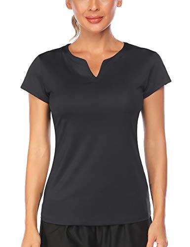 COOrun Running Shirt for Women White Golf T Shirt Black Workout Shirt Collarless Tennis Top(Black,S) Maine