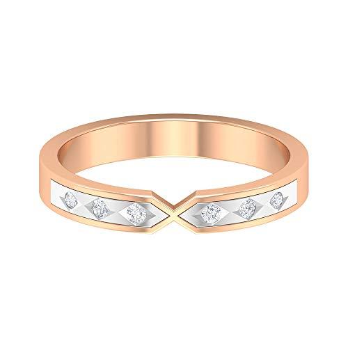 ¿Joyas Rosec? Anillo de boda antiguo con diamante HI-SI, anillo de metal mixto, 14K Oro rosa, Size:EU 54