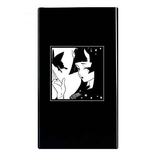 N\C Slim Lady's Cigarette Box Case Anime Design Aluminum Alloy Metal Black Tobacco Slim Box Holds 20pcs Cigars