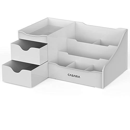 Casaria Kosmetik Make Up Organizer Schreibtisch Aufbewahrung 2 Schubladen Kosmetikorganizer Ordnungssystem Bad Grau
