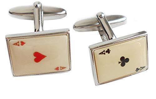 magdalena r. Herz Kreuz Manschettenknöpfe Spielkarten Ass beigeweiss Herz rot Kreuz schwarz inkl. dunkler Geschenkbox