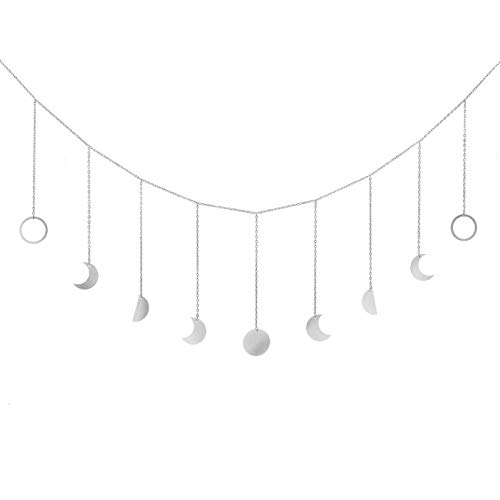 Mkouo Mond Phase Girlande with Chains Boho Gold Shining Phase Wandbehang Urlaub Ornamente Mond hängen Art Room Decor for Bedroom Living Room Apartment Dorm Nursery Home Office, Silver