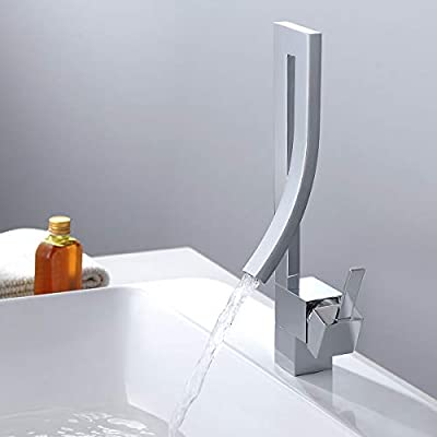 Jiuzhuo Modern Creative Design Single Lever Handle 1-Hole Bathroom Sink Faucet with Waterfall Spout (Chrome)