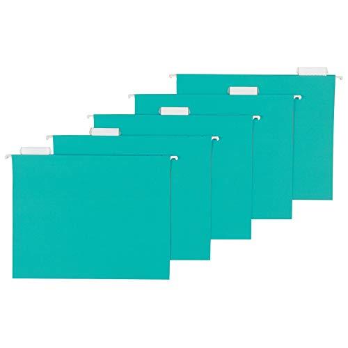 Amazon Basics Hanging Folders, Letter Size, Aqua, 25-Pack