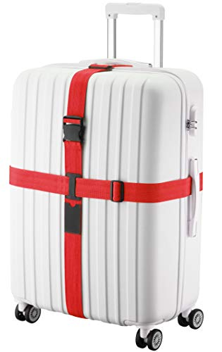 TRANVERS Cross Luggage Straps Belt For Suitcase Baggage Straps Adjustable (Red)