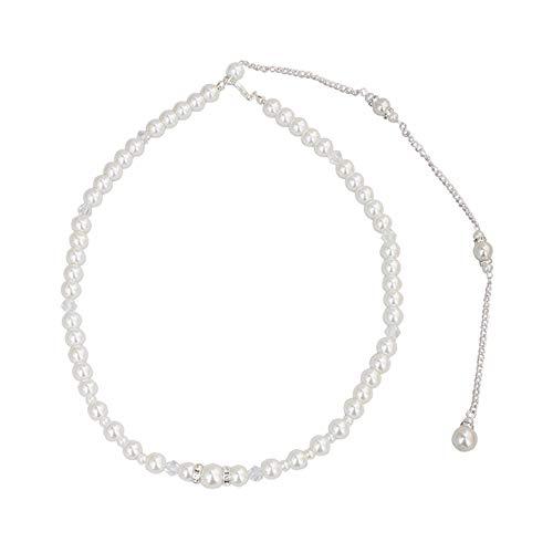 Collar con Espalda Nupcial, hicoosee Elegante Collar de Perlas de Cristal para...