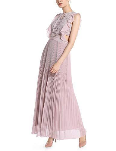 APART Elegantes Damen Kleid, Abendkleid, lang, rosa, Mesh Oberteil, plissierter Rockpart, Mauve, 38