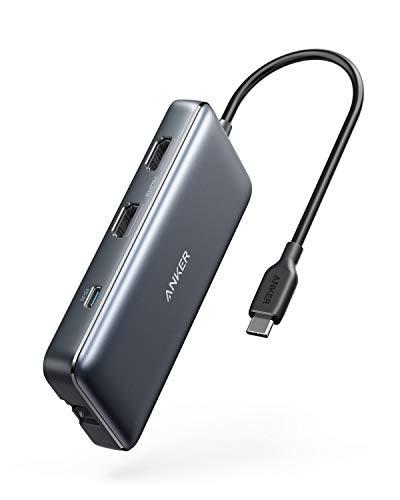 Anker PowerExpand 8-in-1 USB-C PD メディア ハブ 4K対応 複数画面出力 HDMIポート 100W出力 Power Delivery 対応 USB-Cポート USB-A ポート 1Gbpsイーサネットポート microSD & SDカード スロット搭載 テレワーク リモート 在宅勤務