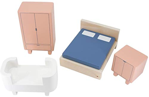 Sebra Schlafzimmermöbel, hübsches Zubehör-Set für Puppenhaus, Spielhaus