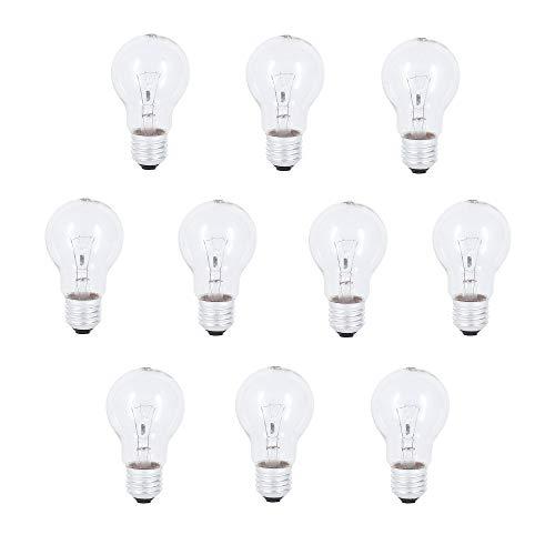 10x Glühlampe 200W Glühbirne E27 200 Watt Glühbirnen klar Glühlampen Allgebrauchslampe A60 Baulampe 230V Ersatz-Leuchtmittel