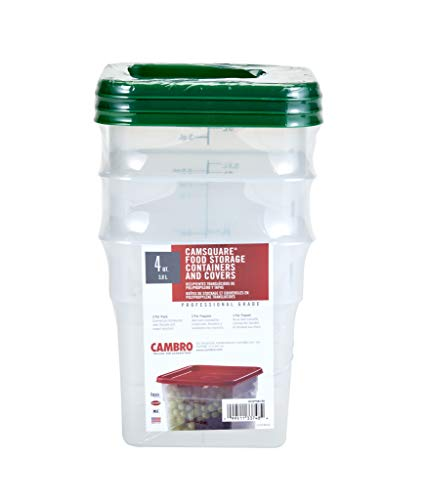Cambro 4SFSPPSW3190 Set of 3 Square Food Storage Containers with Lids, 4 Quart