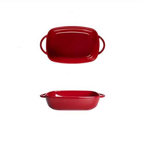 HFLK Kreative binaurale Keramik Backkäse gebackener Reis Backform Haushalt rot (9 Zoll 20 * 13 * 5 cm)
