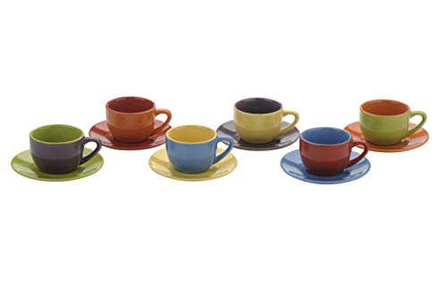 The DRH Collection La Cafetiere - Set de 6 Tazas y platillos para café Espresso, Multicolor