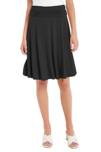 12 Ami Solid Basic Fold-Over Stretch Midi Short Skirt Black Medium