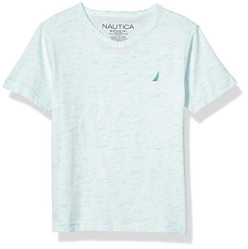 Nautica Jungen Heathered V-Neck Basic Tee Hemd, Pool Blue, Groß