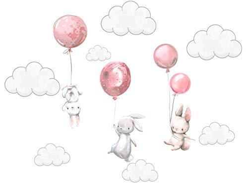 Szeridan Kaninchen Hase Ballons Wolken Wandtattoo Babyzimmer Wandsticker Wandaufkleber Aufkleber Deko für Kinderzimmer Baby Kinder Kinderzimmer Mädchen Junge Dekoration (100 x 50 cm, Rosa)