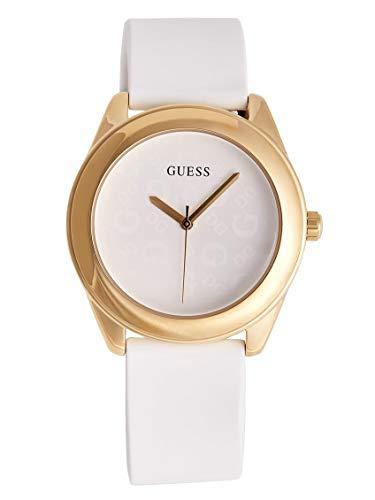 GUESS Factory - Reloj de Pulsera con Logotipo de Silicona para Mujer, Color Blanco y Dorado