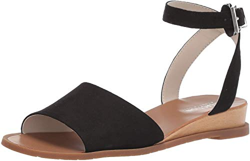 Kenneth Cole REACTION Women's Jolly Low Wedge Sandal with Ankle Strap Flat, Black, 9 M US