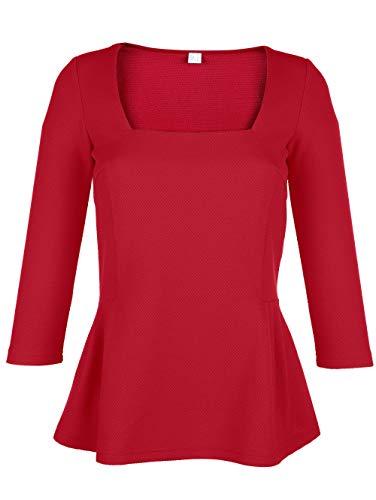 Laura Kent Damen Figurbetontes Shirt mit 3/4-Ärmel in Rot mit Schößchen