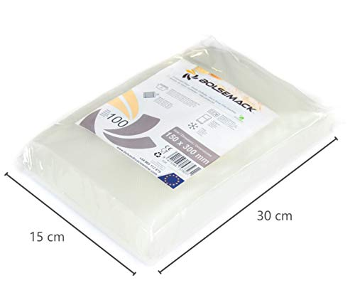Sacs sous vide gaufrés 150x300 mm (15x30 cm) (100 unités) à usage alimentaire pour tout type d'appareil de mise sous vide