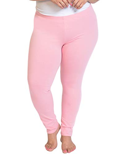Stretch is Comfort Women's Cotton Plus Size Leggings Light Pink 3XL