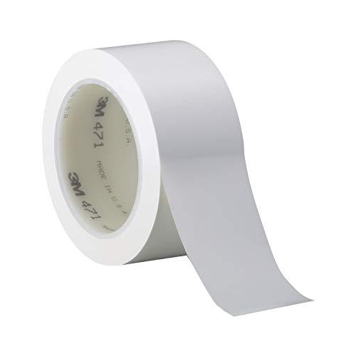 3M 471 Hochwertiges Weich-PVC-Klebeband, 50 mm x 33 m, Weiss (1-er Pack)