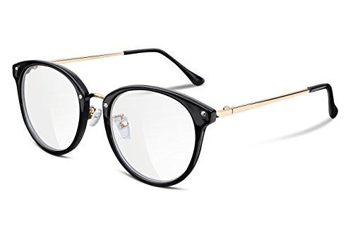 FEISEDY Damen Retro Brillengestell Runde Over-the-Counter Brille Transparente Linse Stärke für Herren B2260