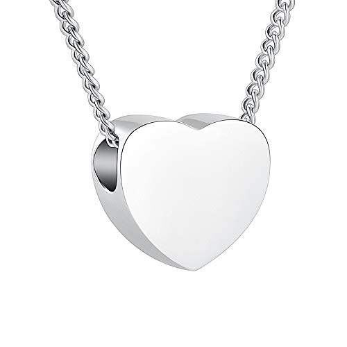 Tiny Heart Urn Necklace for Ashes Pendant Stainless Steel Cremation Jewelry Holds Loved Ones Ashes Keepsake Cremation Necklace for Women/Girl