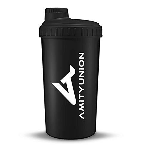 """Eiweiß Shaker """"Viisi"""" 700 ml ORIGINAL Fitness Mixer - Protein Shaker auslaufsicher - BPA frei, Mit Skala für cremige Whey Proteinpulver Shakes, Protein Isolat BCAA Konzentrate Schwarz"""