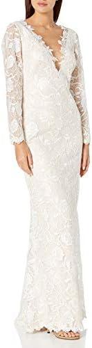 Tadashi Shoji Women s Long Sleeve Lace Bridal Gown Ivory Petal 12 product image