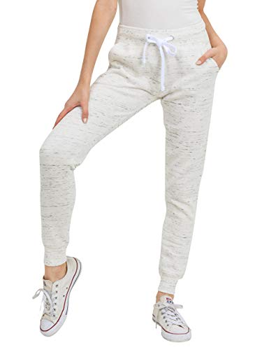 esstive Women's Ultra Soft Fleece Basic Midweight Casual Solid Jogger Pants, Marled Oatmeal, Large
