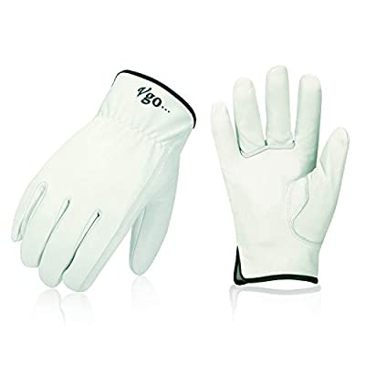 Vgo 3Pairs Unlined Top Grain Goatskin Work and Driver Gloves(White,GA9501)