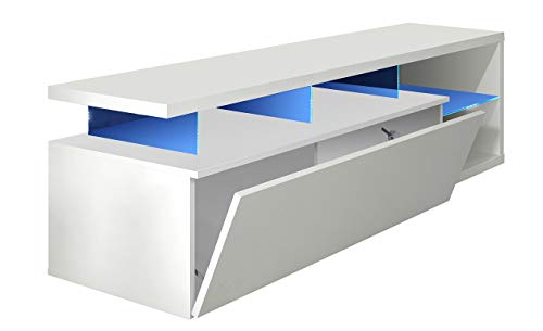 Habitdesign Modulo de TV Moderno, Mueble Salon, Modelo Blue-Tech, Color Blanco Brillo y Luces LED, Medidas: 150 cm (Ancho) x 43 cm (Alto) x 41 cm (Fondo)