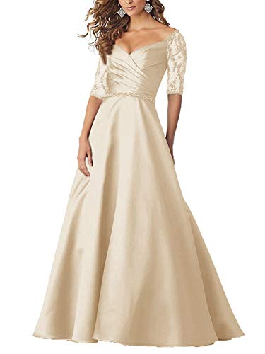 Tianzhihe Beaded Half Sleeves Mother of The Bride Dresses Off Shoulder Formal Evening Gowns Champagne 14