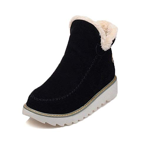 Botas De Nieve Mujer Invierno Aire Libre Altas Calentar Forrado Botines Snow Ankle Boots Zapatos De Cuña 3cm Negro Marrón Beige 34-43