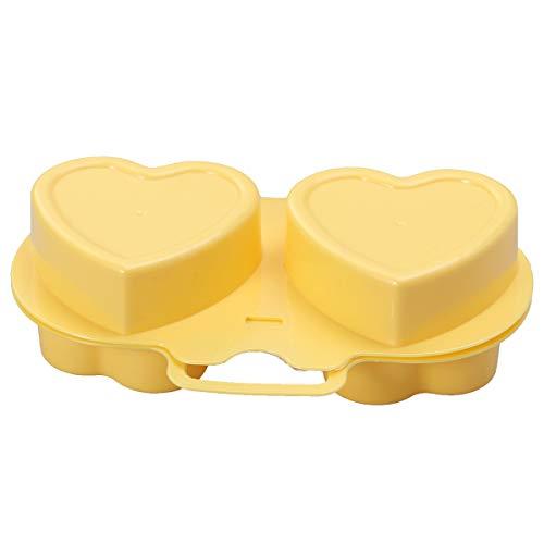 Molde de silicona para huevos fritos de BESTONZON, para microondas, horno, horno, horno, forma de corazón, huevo, utensilios de cocina (flores + corazón, amarillo)