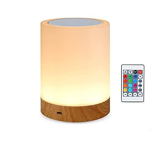 Amouhom LED Nachttischlampe mit Fernbedienung, Dimmbar Tischlampe für Schlafzimmer Wohnzimmer, 16 Farben Tragbare Nachtlicht Warmes Weißes Licht und Farbwechsel Geschenke für Kinder/Erwachsene