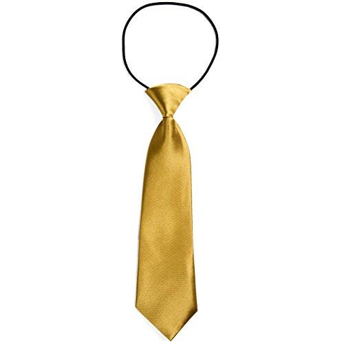 DonDon® Jungen Krawatte Kinder Krawatte im Seidenlook glänzend – 7,0 cm breit – mit elastischem Gummiband - Gold