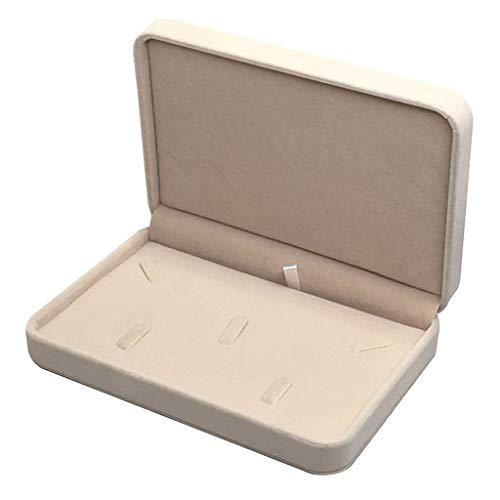 XKMY Joyero organizador de joyas de madera, caja expositora de terciopelo, organizador de almacenamiento para collar y anillo (color: beige)