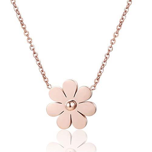 collar Collar De Mujer Con Forma De Crisantemo Hermoso De Acero Inoxidable Collar Con Colgante De Amor De Color Oro Rosa