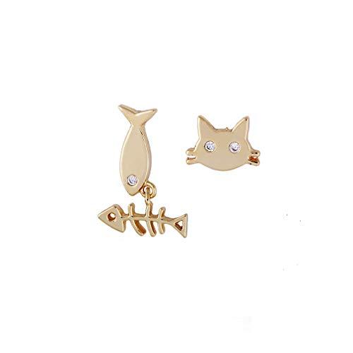 YAZILIND 18K Oro Plateado Gato y Peces Forma Stud Pendientes joyería de Moda para Las Mujeres