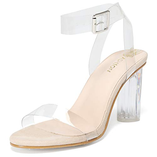 Women's High Heels Sandals for Wedding Shoes with Open Toe Ankle Strappy Block Clear Platform Chunky Heeled Women Party Dress Holiday - 1715 Nude 8.5(41)