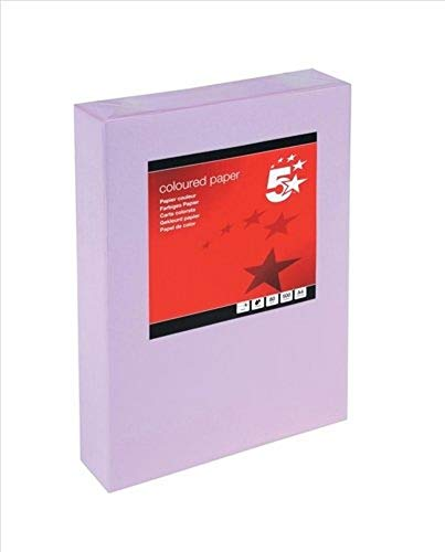 5 Star 936300 Coloured Copier Paper Multifunctional Ream-Wrapped 80gsm A4 Medium Violet [500 Sheets]