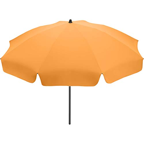FARE Sonnenschirm Klassik Gr. S - 165cm Durchmesser - UV-Schutz 50+ für Balkon Garten Terrasse Sommer - Titan-Finish inkl. Drehfeststeller Sicherheitsschieber Tragetasche (Aprikose)
