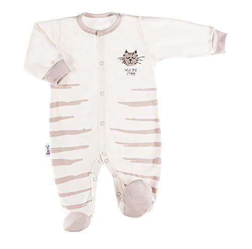 Tiger Baby Strampler - Mädchen Jungen Unisex - Langarm - Beige - Baumwolle - Größe 74