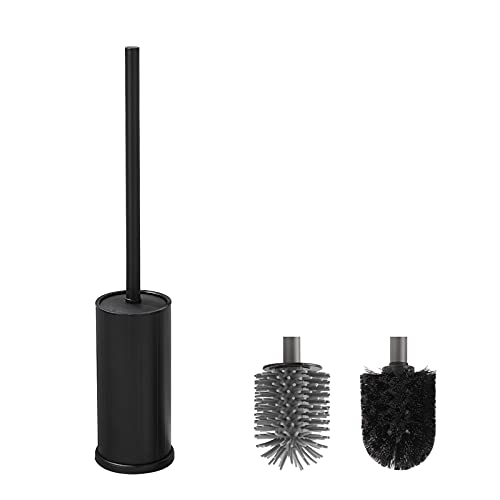 BVL Negra Escobillas de Baño, Escobillas de Baño Silicona con 1 Cabeza de Cepillo Adicional, Metálica Escobillas y Portaescobillas de Inodoro, Resistente a la Oxidación