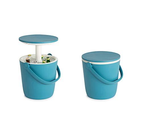 Koll Living Garden Beach Box, blau - 3 in 1 - kombiniert Kühlbox, Cocktail- und Kaffeetisch - gekühlte Getränke Immer griffbereit -ideal für BBQs und Veranstaltungen