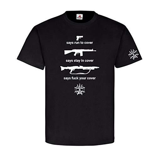 WDD Bundeswehr Waffen Pistole Gewehr G3 MG3 Gewehr BW Waffe T Shirt #26012, Größe:XL, Farbe:Schwarz