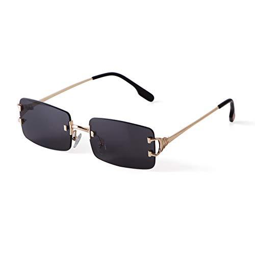 ADE WU Rechteck Randlose Sonnenbrille Ultra-Small Frame Sonnenbrille Retro Durchsichtige Linse für Frauen Männer