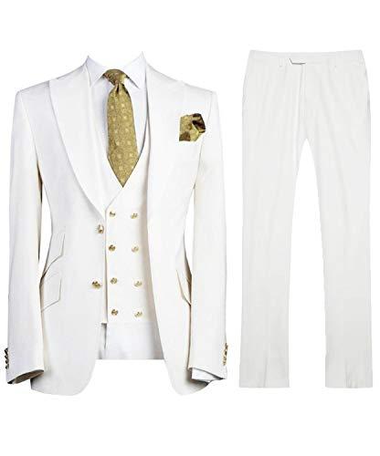 LILIS Men's Fashion 3 Pieces Suit Slim Fit Wedding Suits for Men Groom Tuxedos White